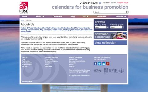 Screenshot of About Page rosecalendars.co.uk - About Us - 						Rose Calendars - captured Sept. 24, 2014
