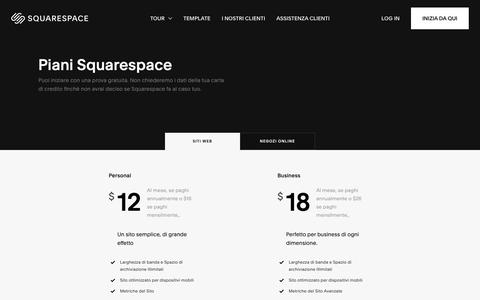 Screenshot of Pricing Page squarespace.com - Piani Squarespace – Squarespace - captured Feb. 11, 2019