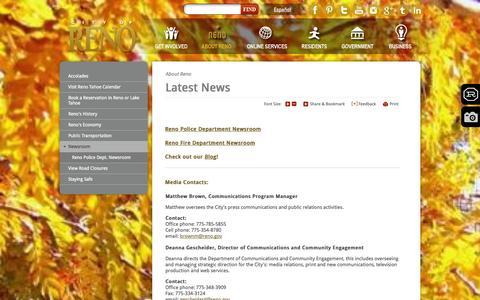 Screenshot of Press Page reno.gov - City of Reno : Newsroom - captured Nov. 1, 2014
