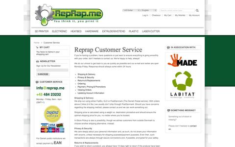 Screenshot of Support Page reprap.me - Customer Service - captured Oct. 8, 2014