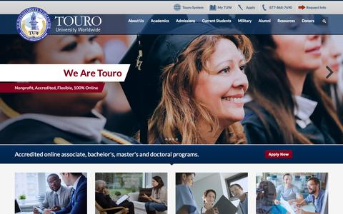 Screenshot of Home Page tuw.edu - Touro University Worldwide - Accredited Online Degrees - captured Nov. 18, 2018