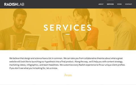 Screenshot of Services Page radishlab.com - Services – Radish Lab - captured Oct. 7, 2014