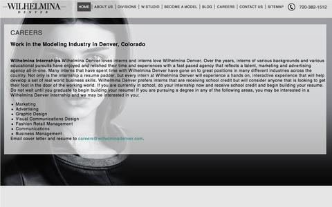 Screenshot of Jobs Page wilhelminadenver.com - Careers   Wilhelmina Denver - captured Dec. 11, 2016