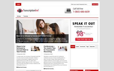 Screenshot of Blog transcriptionlive.com - Transcription services   blog   articles   tips   tutorials   audio   video   interviews - captured Oct. 7, 2014