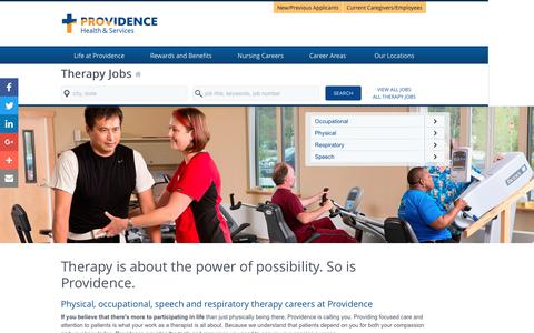 Screenshot of Home Page providence-therapy.jobs - Providence Therapy Jobs - captured Jan. 22, 2017