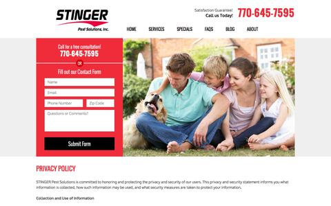 Screenshot of Privacy Page stingerpest.com - Privacy Policy | Stinger Pest Solutions - captured Oct. 23, 2014