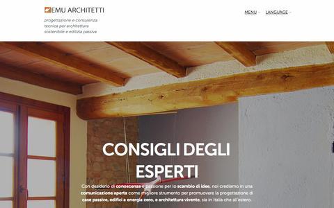 Screenshot of Home Page Menu Page emuarchitetti.com - Emu Architetti     progettazione e consulenza tecnica per architettura sostenibile e edilizia passiva - captured Oct. 2, 2014