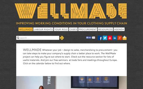 Screenshot of Home Page wellmade.org - WellMade - Wellmade - Improving working conditions in your clothing supply chain - captured Oct. 7, 2014