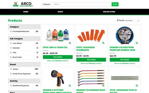 Screenshot of Products Page arcolawn.com - Products - captured Oct. 4, 2018