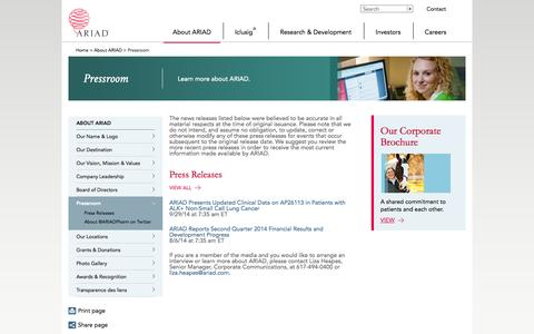 Screenshot of Press Page ariad.com - ARIAD Pharmaceuticals, Inc: Pressroom - captured Oct. 1, 2014