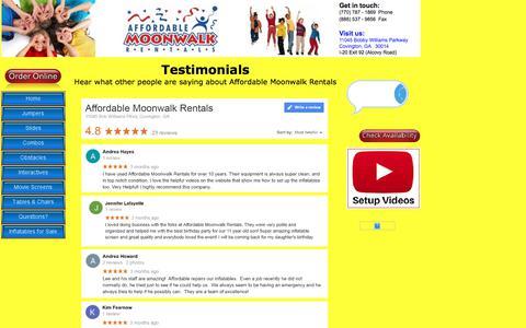 Screenshot of Testimonials Page affordablemoonwalk.com - Affordable Moonwalk Rentals Testimonials & Reviews | Covington, GA - captured Sept. 22, 2018