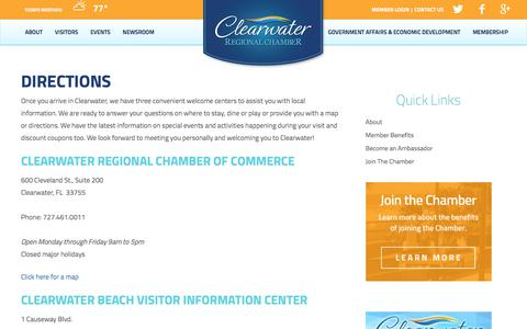 Screenshot of Maps & Directions Page clearwaterflorida.org - Directions | Clearwater Chamber of Commerce - captured Aug. 3, 2017