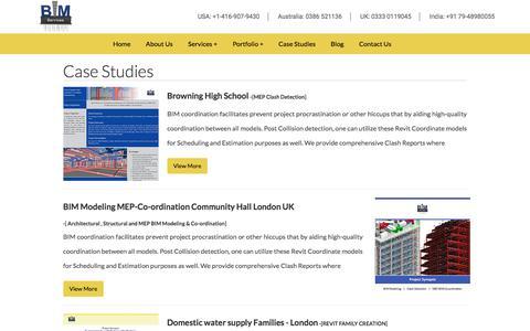 Screenshot of Case Studies Page bimservicesindia.com - Case Studies - captured June 28, 2018
