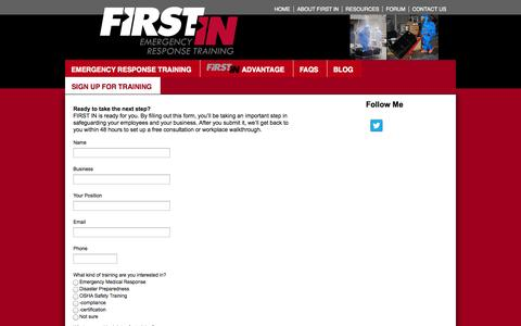 Screenshot of Signup Page firstintraining.net - Sign Up For Training  FIRST IN Emergency RESPONSE TRAINING - captured Oct. 6, 2014