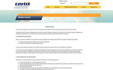 Screenshot of Privacy Page certissecurity.com - Welcome to Certis - captured Nov. 1, 2014