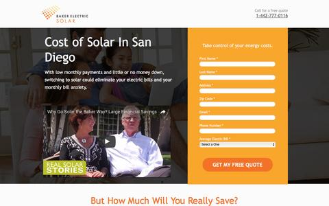 Screenshot of Landing Page bakerelectricsolar.com - Cost Of Solar In San Diego - captured Aug. 19, 2016