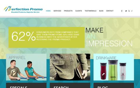 Screenshot of Home Page perfectionpromo.com - Perfection Promo   San Francisco, CA   Promotional Products and Swag - captured Oct. 2, 2014