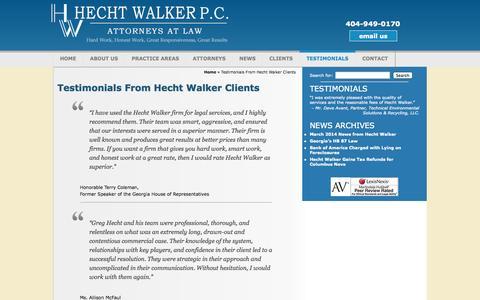 Screenshot of Testimonials Page hechtwalker.com - Testimonials From Hecht Walker Clients - captured Sept. 29, 2014