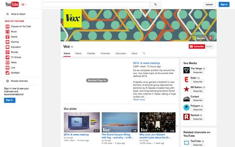 Screenshot of YouTube Page youtube.com - Vox  - YouTube - captured Dec. 17, 2014