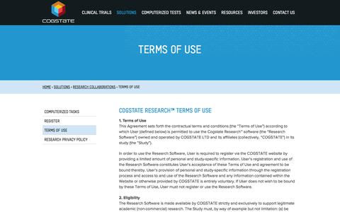 Screenshot of Terms Page cogstate.com - Terms of Use - Academic Collaboration - Cogstate - captured Dec. 10, 2015