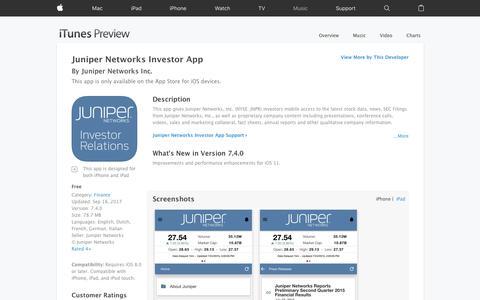 Juniper Networks Investor App on the App Store