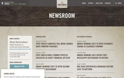 Screenshot of Press Page firstwatch.com - Media & News - First Watch - captured Sept. 26, 2018