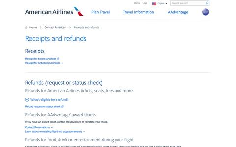 Receipts and refunds - Contact American − American Airlines