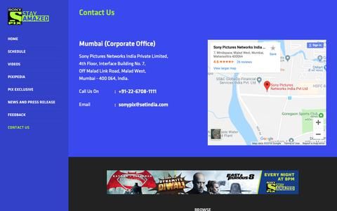 Screenshot of Contact Page sonypix.com - Sony PIX - captured Oct. 21, 2018