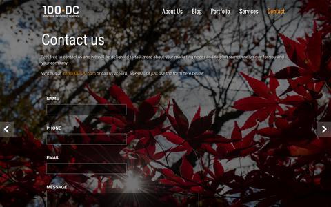Screenshot of Contact Page 100digitalcreativity.com - Creative Agency Atlanta | contact-us |100 Digital Creativity - captured Feb. 17, 2016