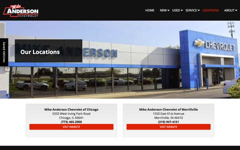 Screenshot of Locations Page mikeandersonchevy.com - Chevrolet Dealer Locations | Mike Anderson Chevy - captured Nov. 28, 2016