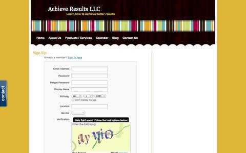 Screenshot of Signup Page webs.com - Signup - Achieve Results LLC - captured Sept. 13, 2014