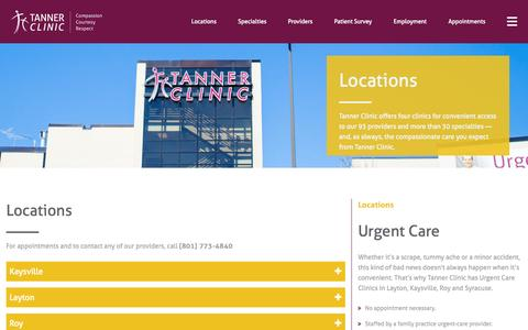 Screenshot of Contact Page Locations Page tannerclinic.com - Family Medical Doctors & Urgent Care | Tanner Clinic - captured Aug. 17, 2015