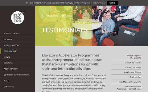 Screenshot of Testimonials Page enetrust.com - The Elevator Programme, A Business Accelerator Progamme - Elevator UK - captured Aug. 11, 2017