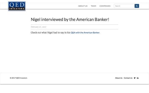 Screenshot of qedinvestors.com - Nigel interviewed by the American Banker! - QED Investors - captured Feb. 28, 2017