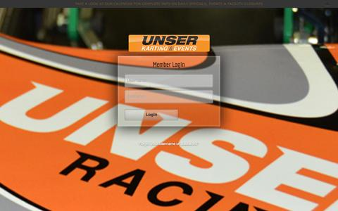 Screenshot of Login Page unserkarting.com - My Account | Unser Karting & Events - captured Oct. 26, 2014