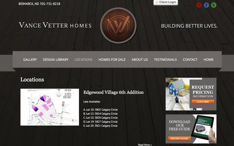Screenshot of Locations Page vancevetterhomes.com - Vance Vetter -   Locations - captured Jan. 10, 2016