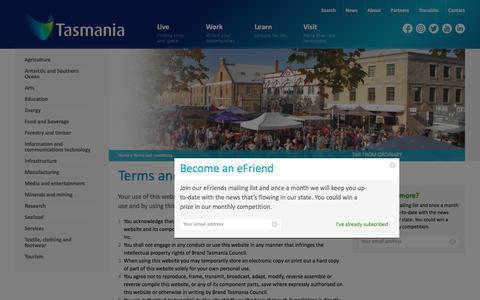 Screenshot of Terms Page brandtasmania.com - Terms and conditions   Brand Tasmania - captured Oct. 11, 2017