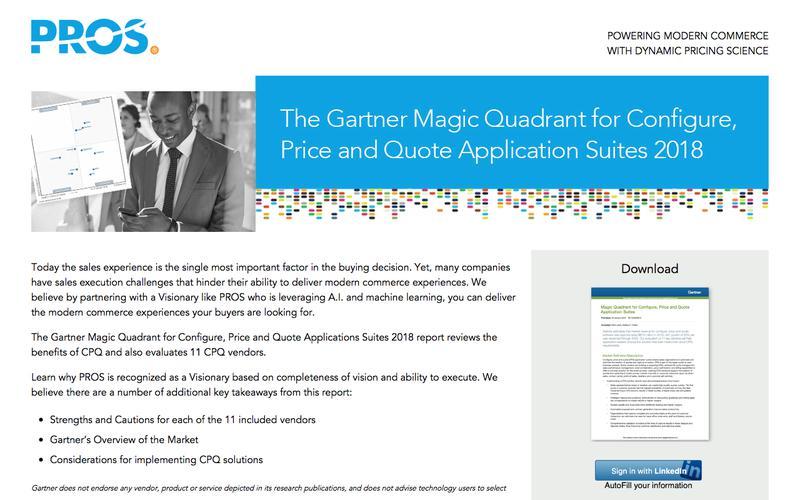 CPQ Gartner Magic Quadrant Analyst Report | PROS Resources | PROS