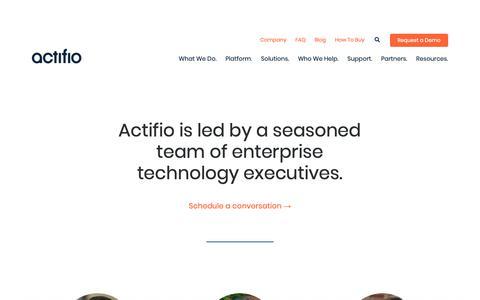 Screenshot of Team Page actifio.com - Leadership Archive | Actifio - captured June 21, 2019