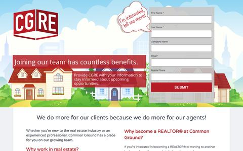Screenshot of Signup Page commongroundrealestate.com - Join the CGRE Team   Common Ground Real Estate - captured Aug. 15, 2017
