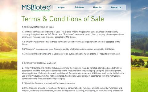 Screenshot of Terms Page msbiotec.com - Contact Sales - MS Biotec - captured Sept. 30, 2014