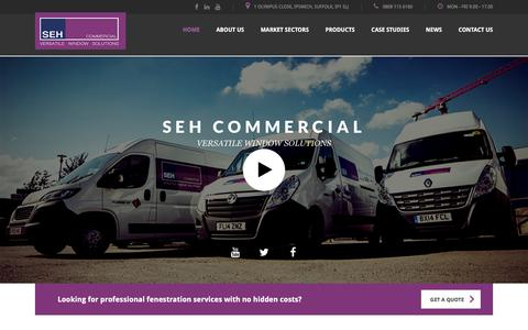 Screenshot of Home Page sehcommercial.co.uk - Windows & Doors for Commercial Buildings - captured Nov. 17, 2016