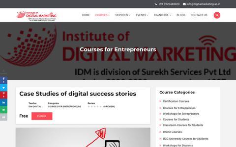 Screenshot of Case Studies Page digitalmarketing.ac.in - Case Studies of digital success stories   Institute Of Digital Marketing - captured Dec. 8, 2019