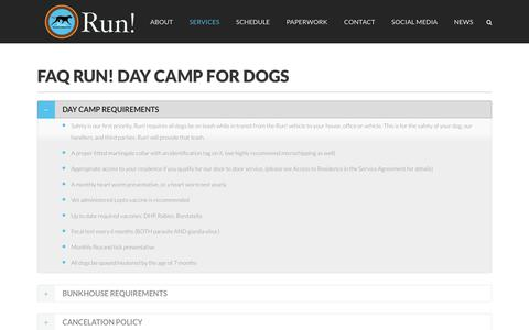 Screenshot of FAQ Page daycampfordogs.com - Questions about day camp for dogs   Run! Day Camp for Dogs - captured Oct. 23, 2017