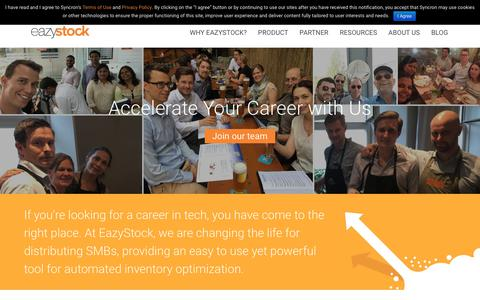 Screenshot of Jobs Page eazystock.com - Career & Job Opportunities - captured July 16, 2018