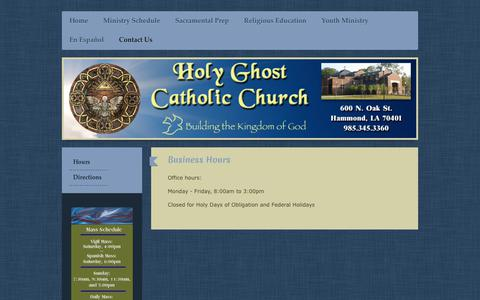 Screenshot of Hours Page hgchurch.org - Holy Ghost Catholic Church - Hours - captured June 29, 2018