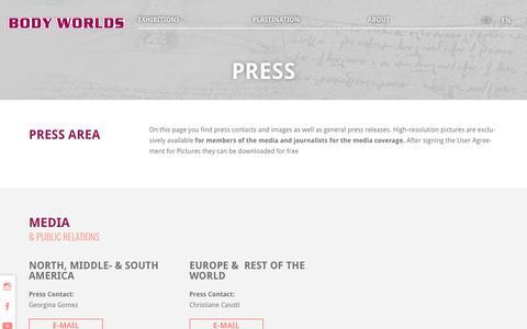 Screenshot of Press Page bodyworlds.com - Press - Körperwelten - captured Sept. 28, 2018