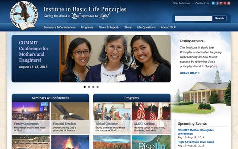 "Screenshot of Home Page iblp.org - Institute in Basic Life Principles | Giving the World a ""New"" Approach to Life! - captured July 18, 2018"