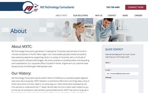 Screenshot of About Page m3tc.com - About | M3 Technology Consultants - captured Dec. 9, 2015
