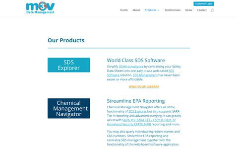 Screenshot of Products Page m3vsoftware.com - SDS Management Software | Products | Material Safety Data Sheet Management - captured Sept. 30, 2017